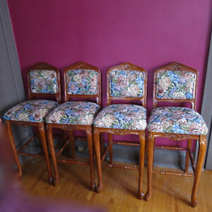 4 Four Bar Stools Chairs Floral Tapestry Solid Wood