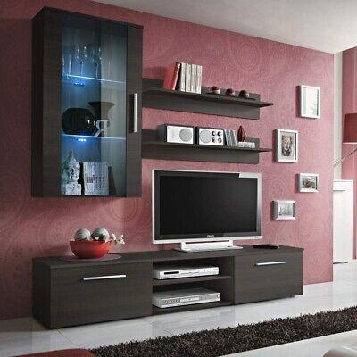 Parete attrezzata LUNA Gihome ® wengè soggiorno moderno mobile design televisore