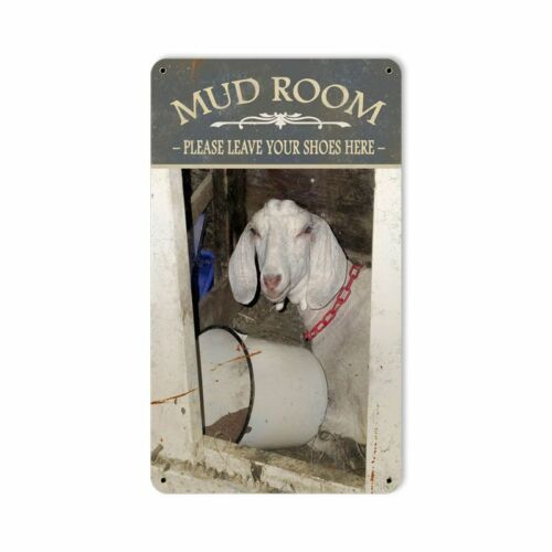 MUD ROOM LEAVE YOUR SHOES HERE GOAT HEAVY DUTY USA MADE METAL ADVERTISING SIGN