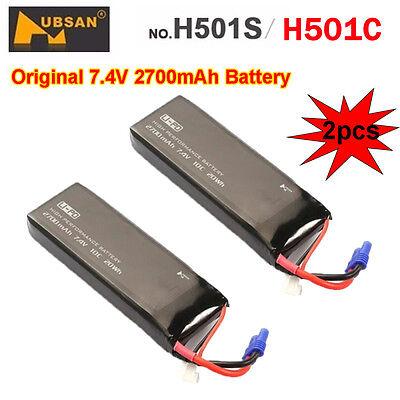 2pcs 7.4V 2700mAh 10C Lipo Battery For Hubsan X4 H501S H501C FPV GPS RC Drone W1