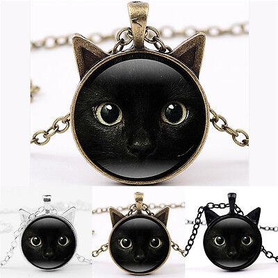 Black Cat Face Time Gemstone Necklace Cat Ear Pendant Sweater Chain Necklacefh
