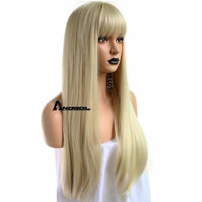 Anogol Blonde 613 Wig with Bangs Fringe Synthetic Cabelo Long Wavy Straight Hair comprar usado  Enviando para Brazil