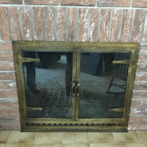 Fireplace front with glass doors and spark acreen