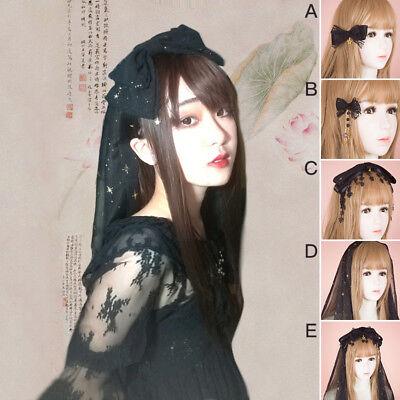 Gothic Lolita Black Veil Bowknot Headband Clip Lace Headdress Hair Accessories](Black Veil Headband)