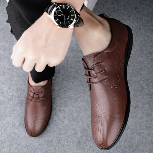 Mens Pointy Toe Oxfords Formal Large Size Business Leisure Faux Leather Shoes L