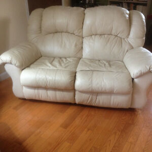 White Vinyl Loveseat