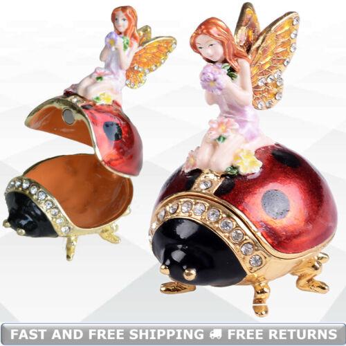 Fairy On Ladybug Jewelry Trinket Box With Hinged Lid Enamel Bejeweled Rhinestone