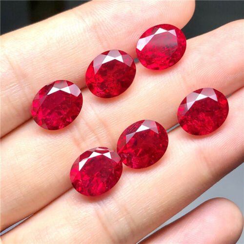 Synthetic Ruby loose stone 5# corundum stone With Visible Inclusions Oval shape
