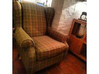 Wingback chair - green tweed