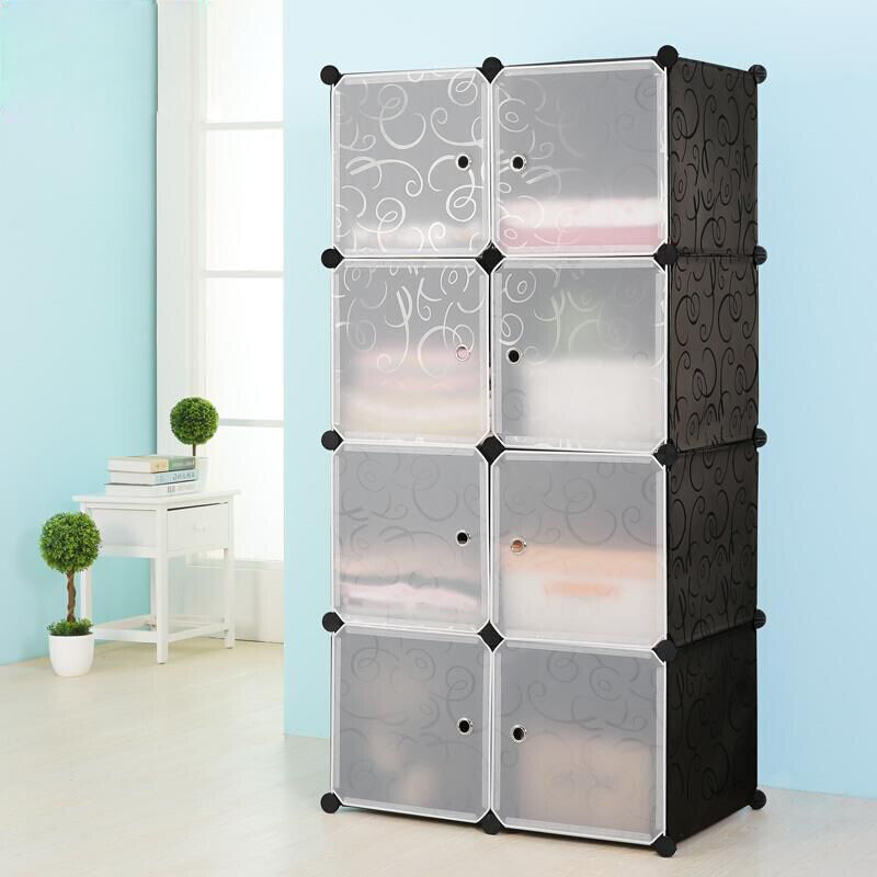 steckregal regal regalsystem garderobe kleiderschrank standregal mit t ren diy ebay. Black Bedroom Furniture Sets. Home Design Ideas