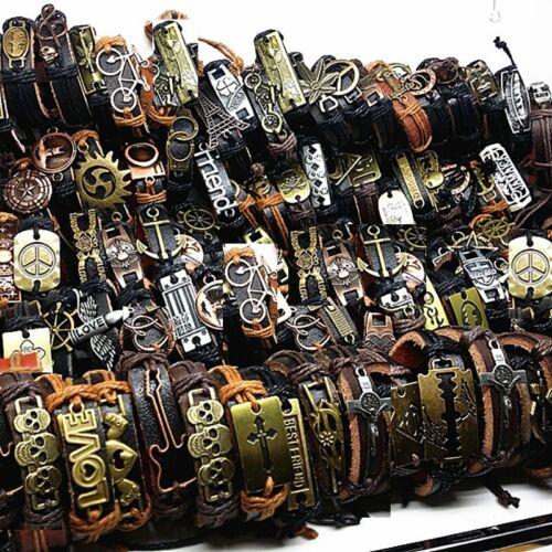 100pcs leather bracelets men Genuine vintage punk rock retro bangle for women