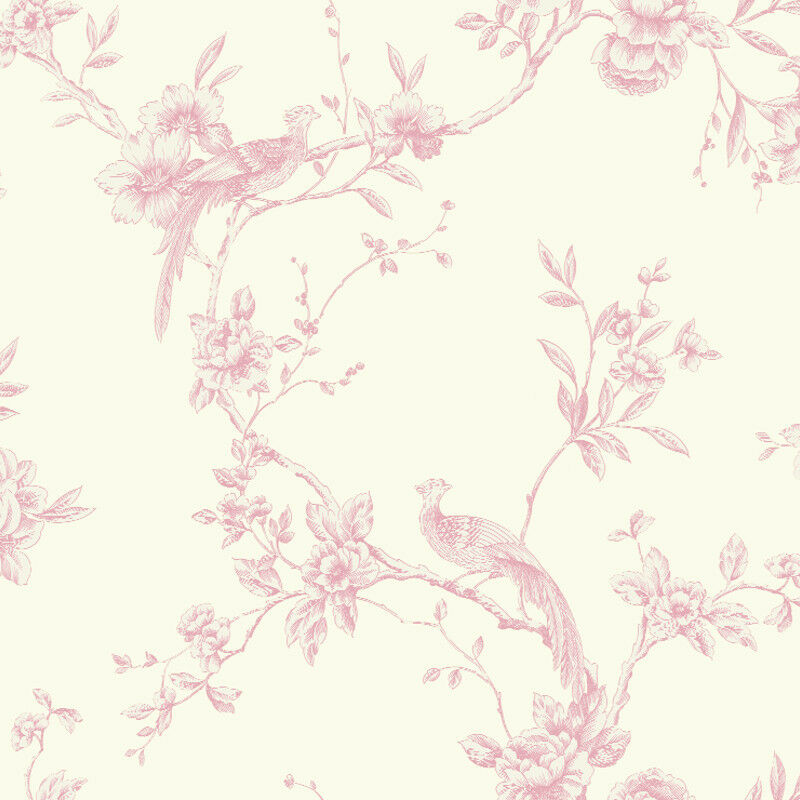 Arthouse chinoise cream floral pink birds opera - Butterfly wallpaper homebase ...