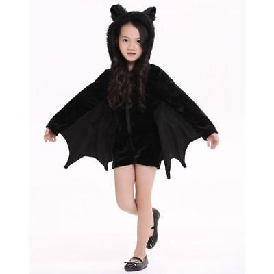 Children Cosplay Kids Halloween Costumes For Girls Black With Wings Bat Clothes