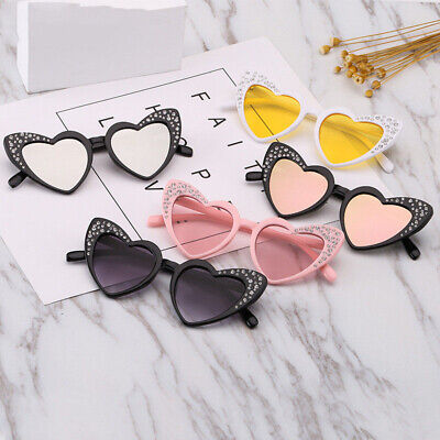Childrens Kids Cute Cat Eye Heart Sunglasses Plastic Rhinestone Eyewear Glasses](Glass Hearts)