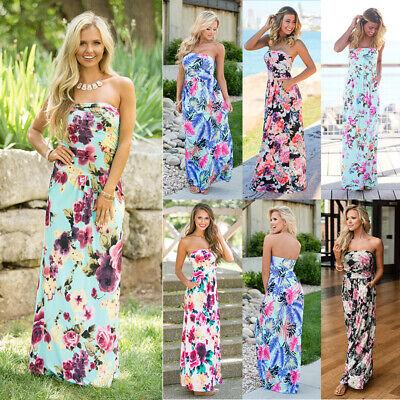 Women's Strapless Maxi Dress Boho Floral Tube Top Long Skirt Sundress Cover Up Casual Strapless Dresses