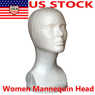 Female Foam Mannequin Manikin Head Model Shop Wig Hair Jewelry Display Stand Us