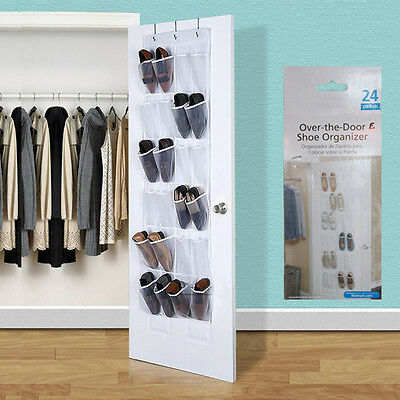 24 Pocket Over the Door Shoe Organizer Rack Hanging Storage Space Saver Hanger