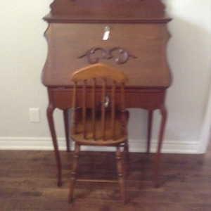 Antique Wood Desk and Chair