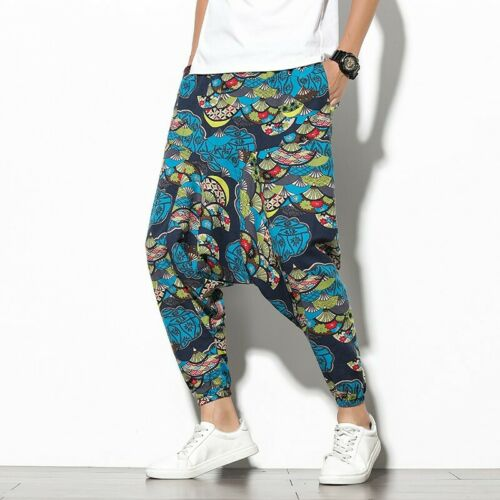 Men/'s Chinese Style Printed Floral Drop Crotch Baggy Harem Pants Summer Trousers