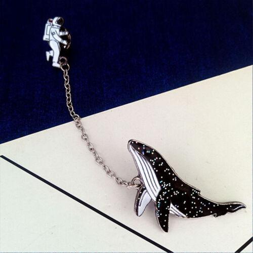 Cartoon Astronaut Whale Badge Enamel Brooch Collar Pin Shirt Collar Lapel Pin