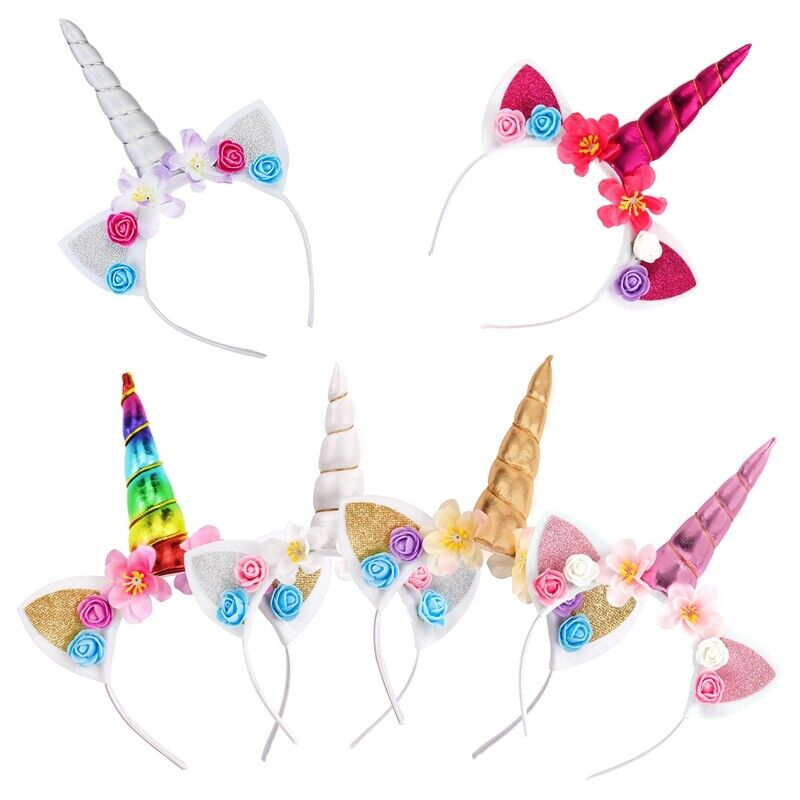 Magical Unicorn Head Band Cosplay Decorative Girls Rainbow Fancy Dress Party Kid