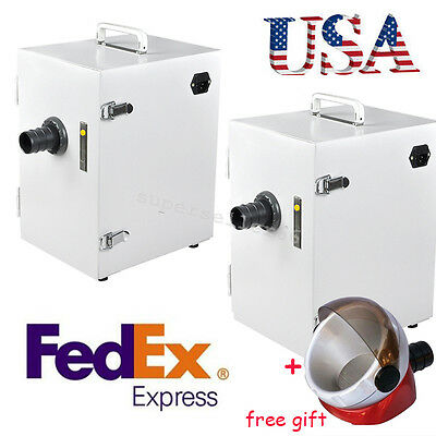 2x Usa Dental Lab Digital Single-row Dust Collector Vacuum Cleaner Suction Base