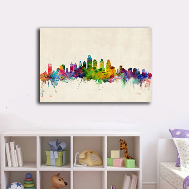 30×45×3cm Watercolor City Skyline C Canvas Print Framed Wall Art Home Decor Gift