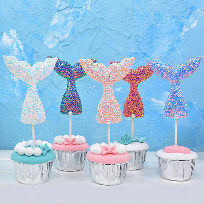 Mermaid Sequin Cake Topper Happy Birthday Candle Baby Shower Party Decor