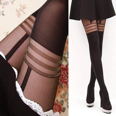 (Sexy Womens Stripes Denier Shiny Silk Stockings Hosiery Glossy Tights Pantyhose )