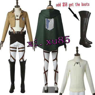 Attack on Titan Cosplay Costume Eren Yeager Custom Made Suit Halloween Outfit - Attack On Titan Outfit