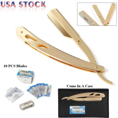 Classic Straight Steel Edge Barber Razor Folding Shaving Knife+ 10 pcs Blades US