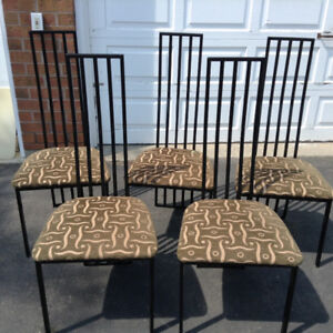 A set of six (6) made in Canada dining chairs with padded seat