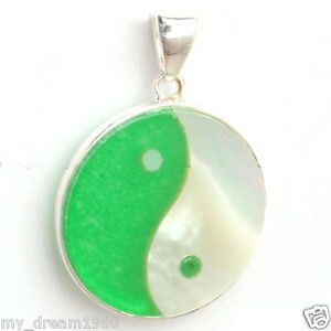20mm Round White Shell&Green jade Yin Yang 925 Sterling Silver Pendant