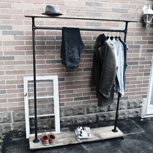 Black Iron Clothing Racks w/Barn Board Planks