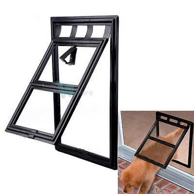 "Lockable Cat Dog Pet Screen Door for Window or Door Flap  8"" × 10"" PP Black #W"