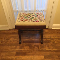 Antique needle point small bench - mint condition & beautiful