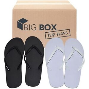 Womens Flip Flops Wholesale Lot Of 48 Pairs Black And White Assorted Sizes