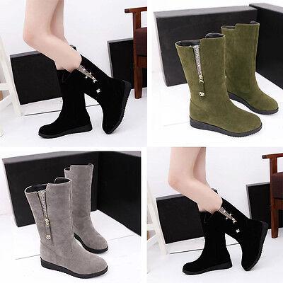 Womens Winter Warm Zip Mid Calf Boots Fur Lined Platform Casual Long Boot