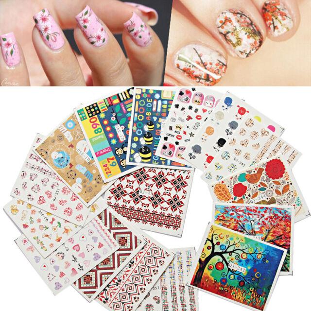 Fashion Lot 10pcs Mixed Water Transfer Manicure Nail Art Stickers ...