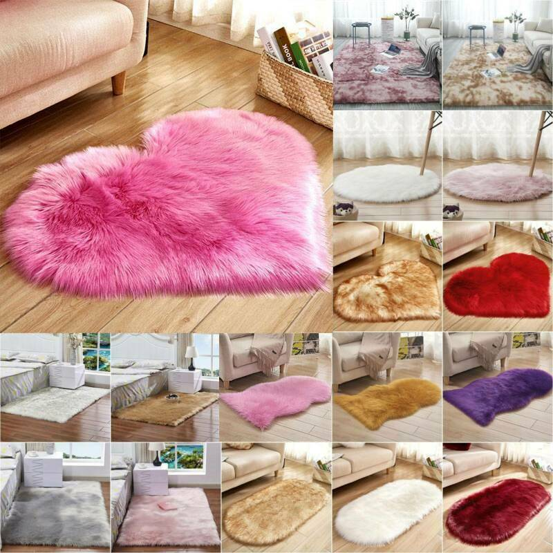 US Fluffy Faux Fur Rug Area Rugs Hairy Soft Shaggy Bedroom H