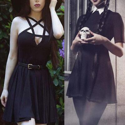 Fashion Women Girl Gothic Retro Mini Dress Cosplay Fancy Dress Halloween Costume - Halloween Dress For Women