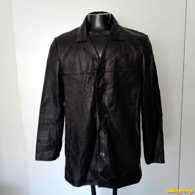 REPORT Collection Lambskin LEATHER Car coat JACKET Mens Size M medium Black