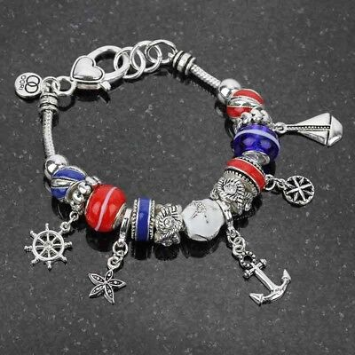 Silver-Tone Anchor Nautical Charms Red White and Blue Bead Bracelet - Red White And Blue Bracelet