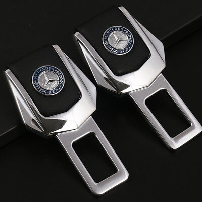 2x Universal Alloy Car Safety Seat Belt Plug Clip Interior for Mercedes-Benz