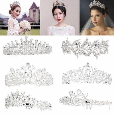 Bridal Princess Austrian Crystal Tiara Wedding Crown Veil Hair Accessory-6 Style](Tiara Veil)