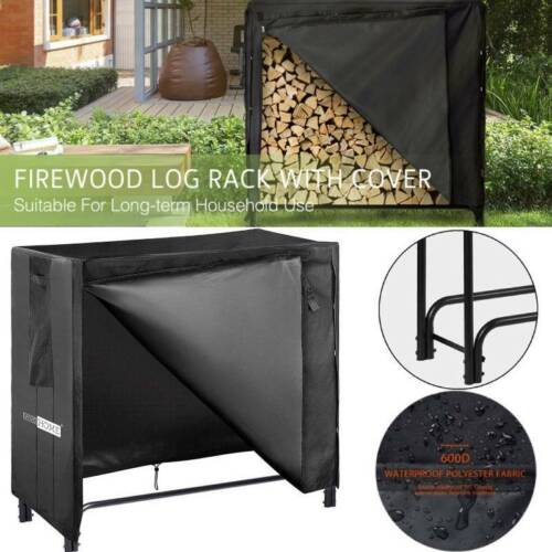 4ft Heavy Duty Indoor Outdoor Firewood Storage Log Rack with Cover Set