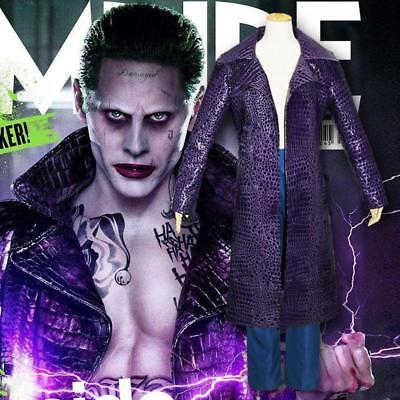 Joker Outfit (Jared Leto Joker Coat Jacket Pants Outfit Cosplay Costume Suicide Squad Trench)