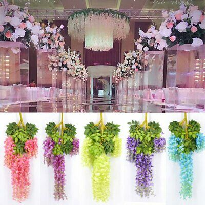 Artificial Silk Wisteria Hanging Flower Vine Wedding Bouquet Decor Garden Plants