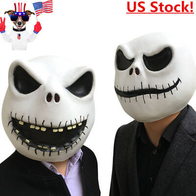 Nightmare Before Christmas Cosplay Costumes (US! The Nightmare Before Christmas Skellington Latex Mask Cosplay Costume)