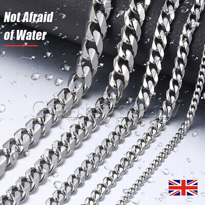 """Mens Curb Chain 20"""" - 24"""" 3MM 6MM 9MM 12MM Sterling Silver Plated Cuban Necklace"""